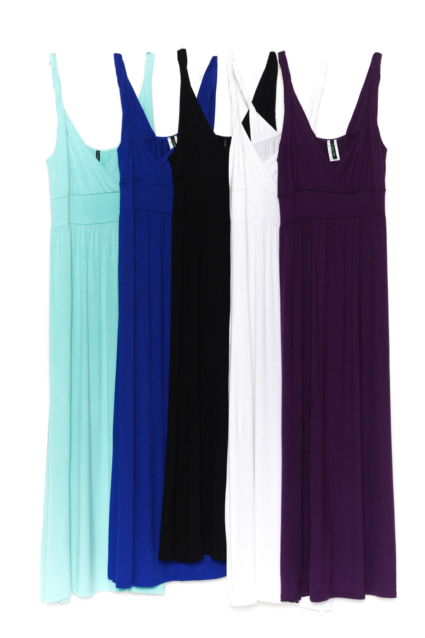 Side by side image of Mint, Blue, Black, White, and Purple Surplice Neckline Twisted Strap Plus Size Maxi Dress