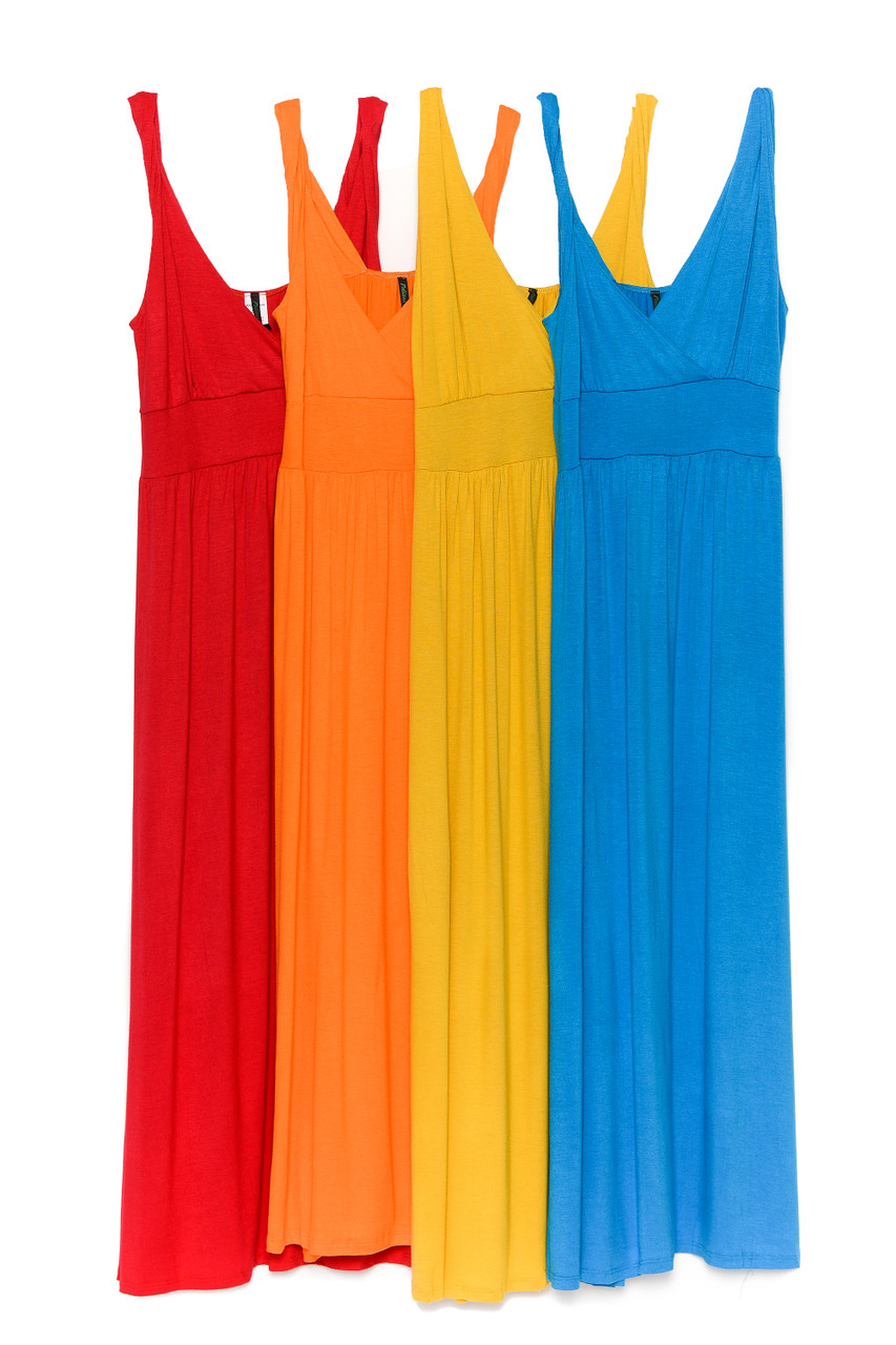 Side by side image of Red, Orange, Yellow, and Sky Blue Surplice Neckline Twisted Strap Plus Size Maxi Dress