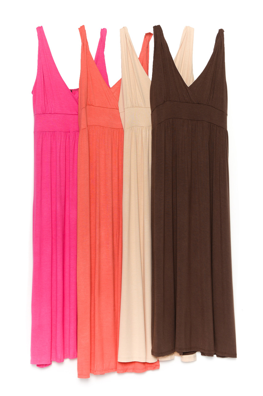 Side by side view of Fuchsia, Coral, Beige, and Brown Surplice Neckline Twisted Strap Plus Size Maxi Dress