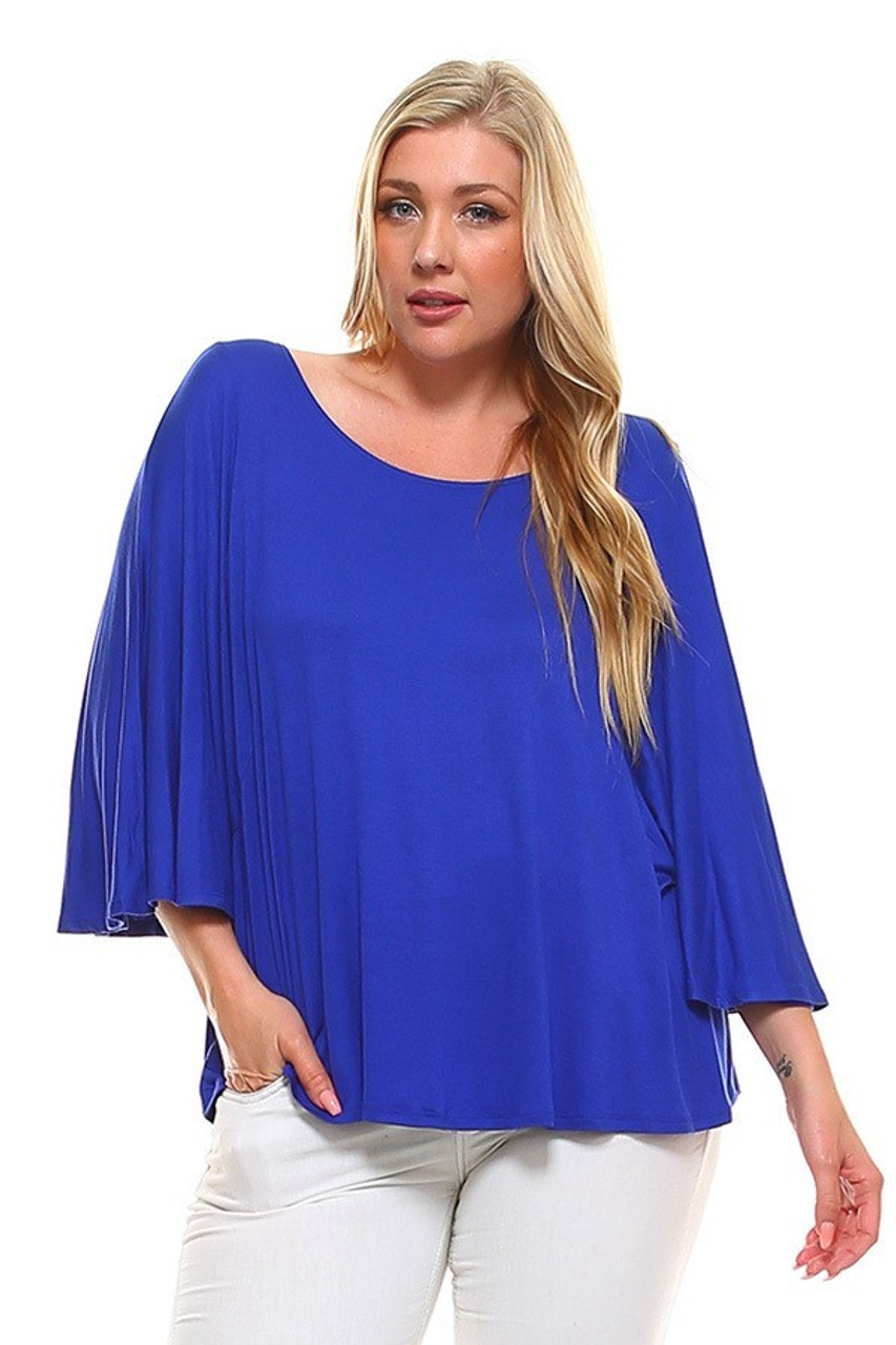 Front view image of Blue Round Neckline 3/4 Flutter Sleeve Relaxed Fit Rayon Plus Size Top