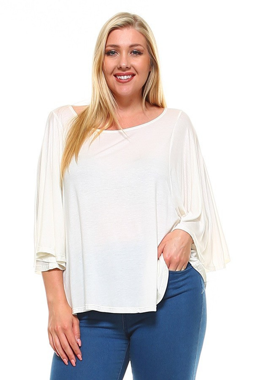 Front view image of White Round Neckline 3/4 Flutter Sleeve Relaxed Fit Rayon Plus Size Top
