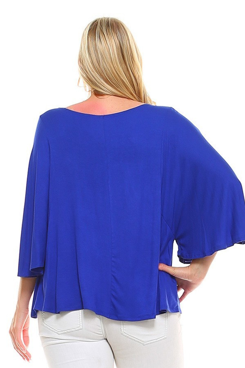 Back view image of Blue Round Neckline 3/4 Flutter Sleeve Relaxed Fit Rayon Plus Size Top