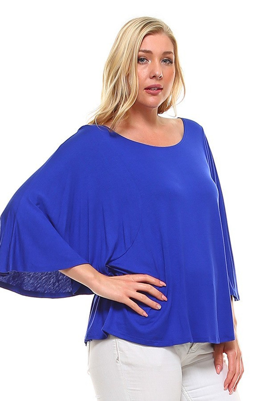 Partial front/left side view image of Blue Round Neckline 3/4 Flutter Sleeve Relaxed Fit Rayon Plus Size Top