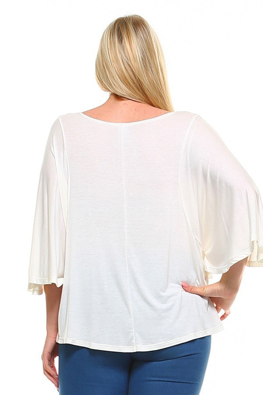 Back view image of Ivory Round Neckline 3/4 Flutter Sleeve Relaxed Fit Rayon Plus Size Top