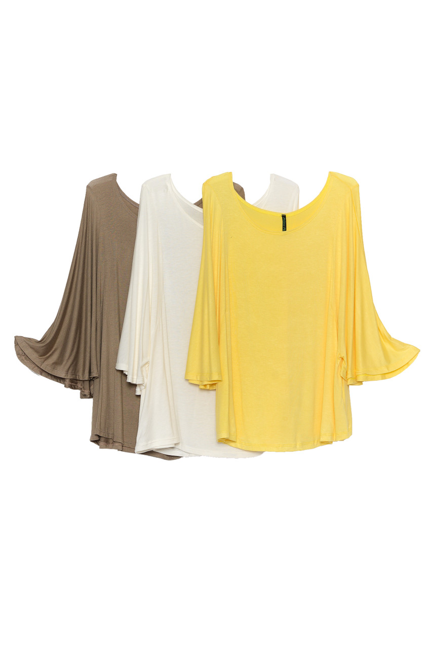 Side by side image of Mocha, Ivory, and Yellow Round Neckline 3/4 Flutter Sleeve Relaxed Fit Rayon Plus Size Top