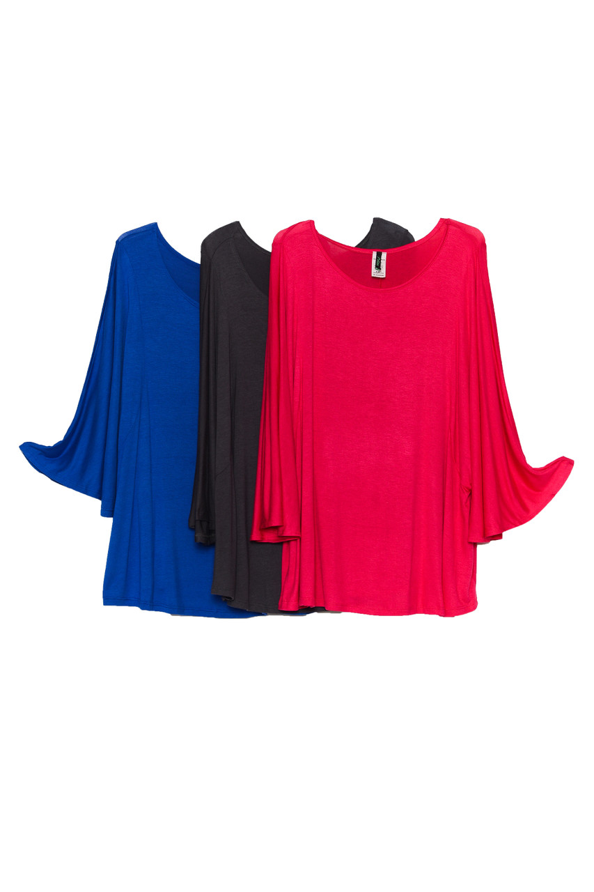 Side by side image of Blue, Charcoal, and Magenta Round Neckline 3/4 Flutter Sleeve Relaxed Fit Rayon Plus Size Top