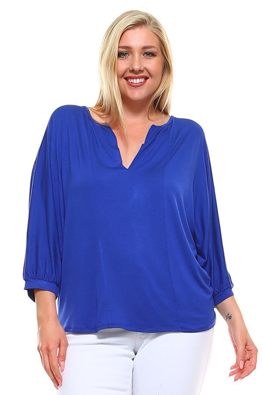 Front view image of Blue Split Round Neckline Relaxed Fit Dolman Sleeve Rayon Plus Size Top