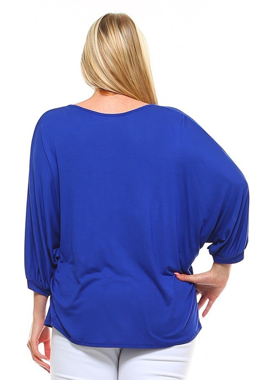 Back view image of Blue Split Round Neckline Relaxed Fit Dolman Sleeve Rayon Plus Size Top