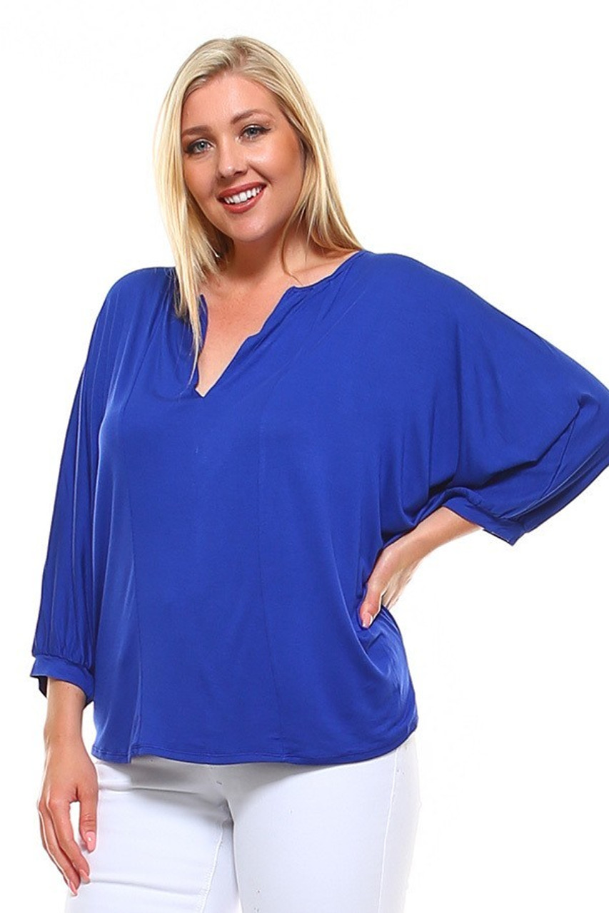 Front slightly turned image view of Blue Split Round Neckline Relaxed Fit Dolman Sleeve Rayon Plus Size Top