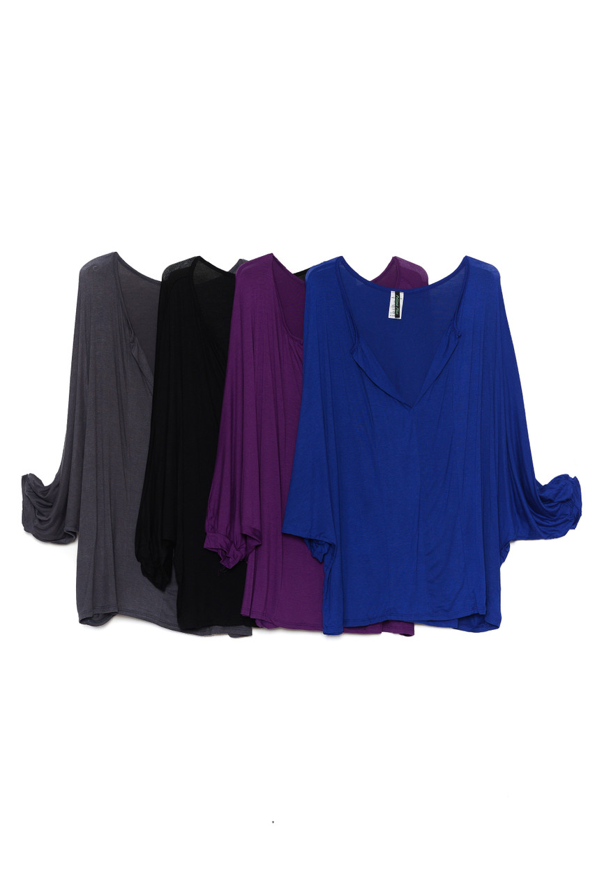 Side by side view of Charcoal, Black, Purple, and Blue Split Round Neckline Relaxed Fit Dolman Sleeve Rayon Plus Size Top