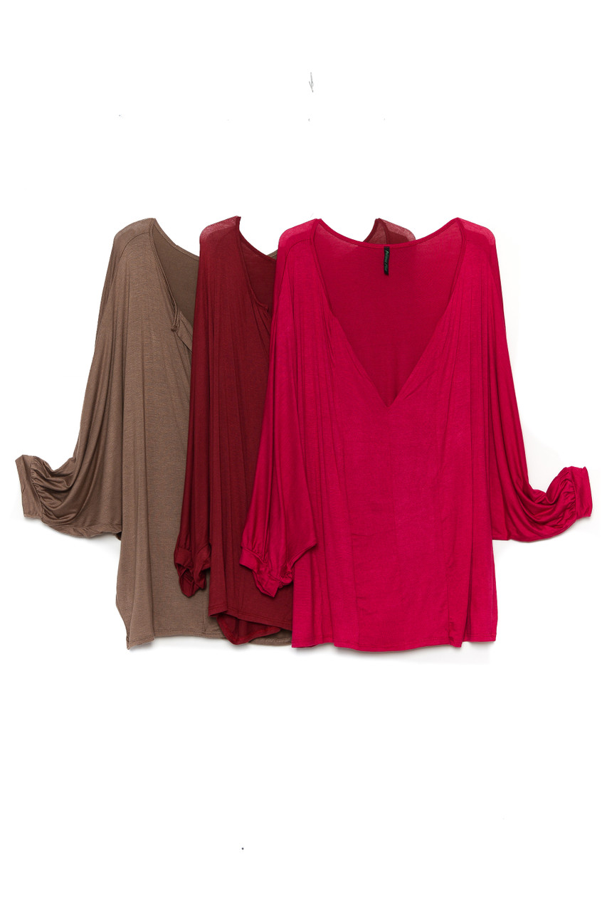 Side by side view of Mocha, Burgundy, and Magenta Split Round Neckline Relaxed Fit Dolman Sleeve Rayon Plus Size Top