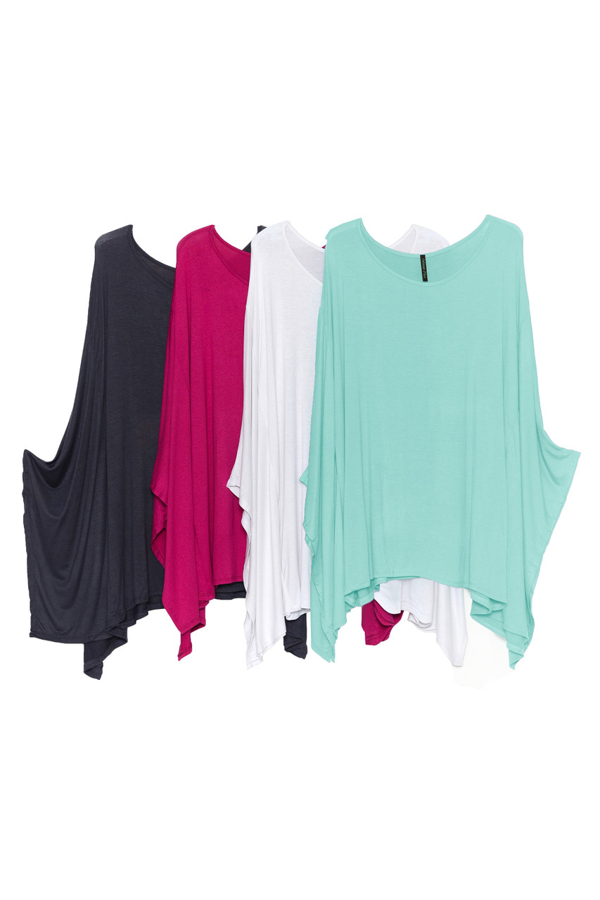 Side by side image of Charcoal, Magenta, White, and Mint Round Neck Cape Style Sleeveless Rayon Plus Size Top