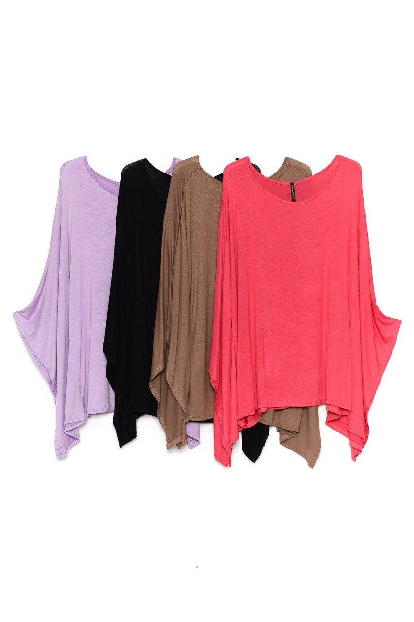 Side by side image of Lilac, Black, Mocha, and Coral Round Neck Cape Style Sleeveless Rayon Plus Size Top
