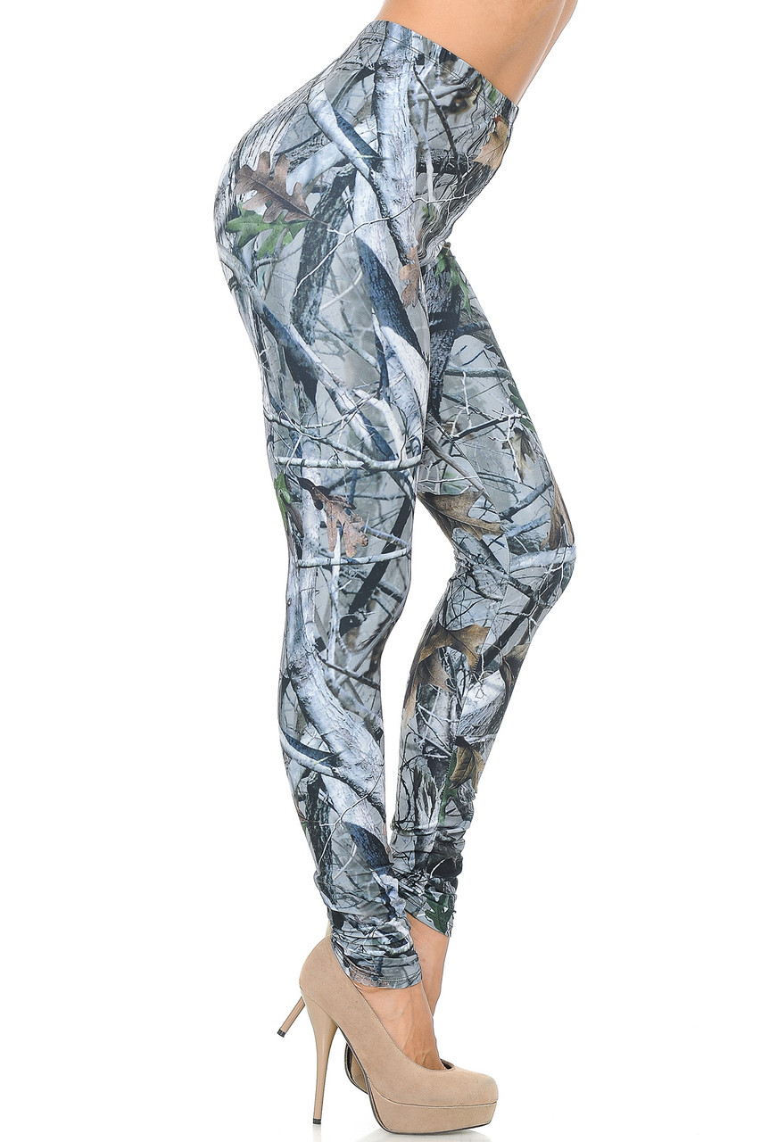Right side view image of Creamy Soft Camouflage Trees Leggings - USA Fashion™