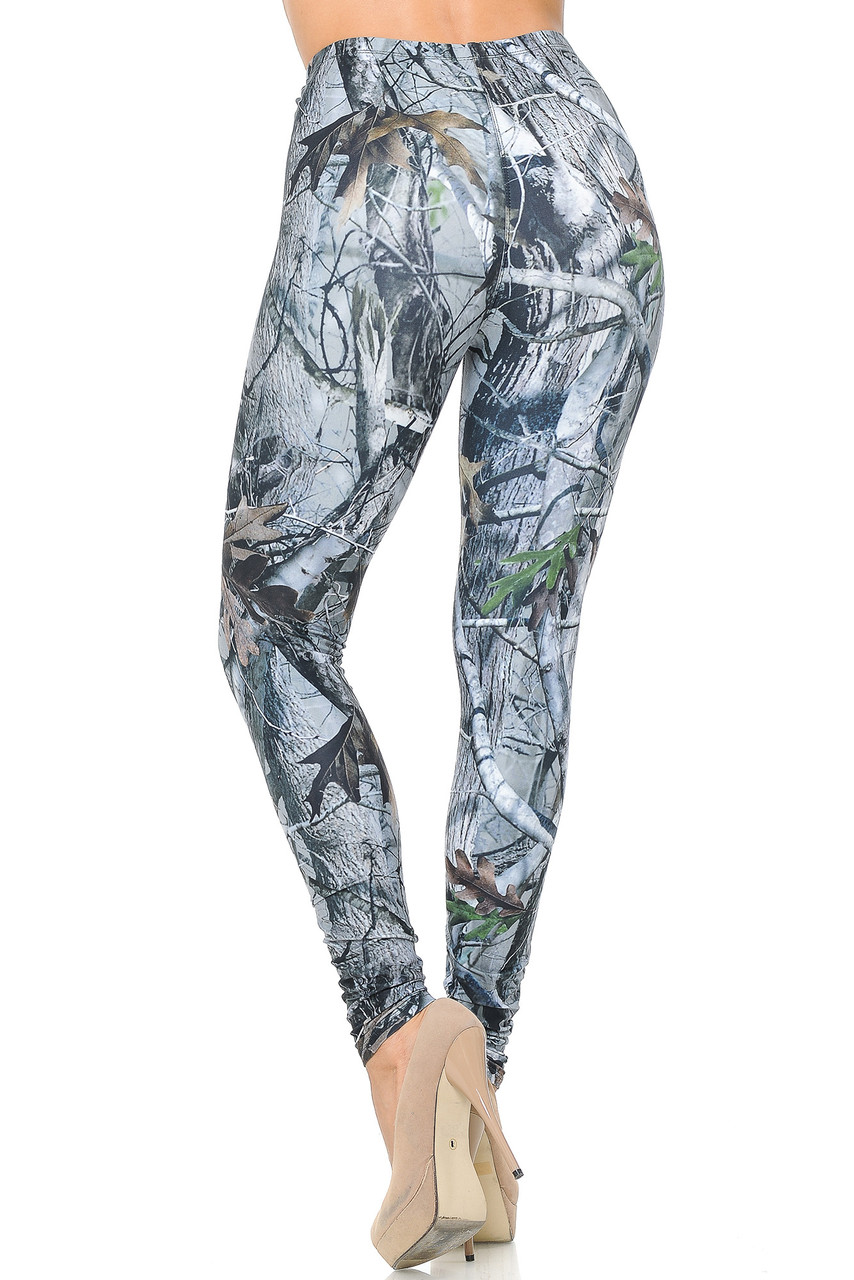 Rear view image of Creamy Soft Camouflage Trees Leggings - USA Fashion™