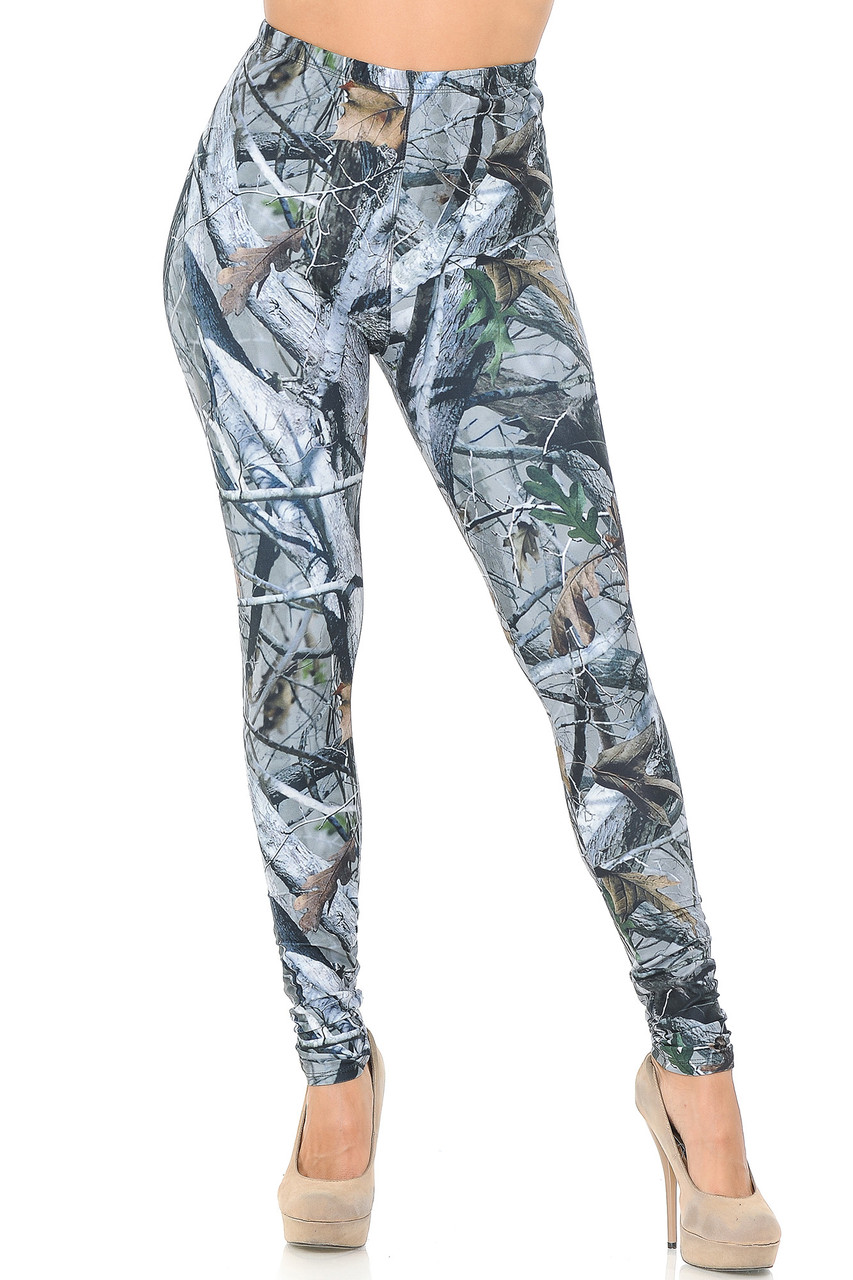 Front view image of our full length skinny leg unique Creamy Soft Camouflage Trees Leggings  - USA Fashion™ with an ideal look for any lover of the outdoors.