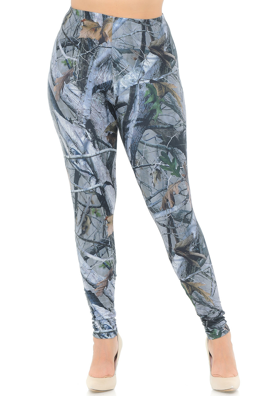 Front view image of our full length skinny leg unique Creamy Soft Camouflage Trees Extra Plus Size Leggings - 3X-5X - USA Fashion™ with an ideal look for any lover of the outdoors.