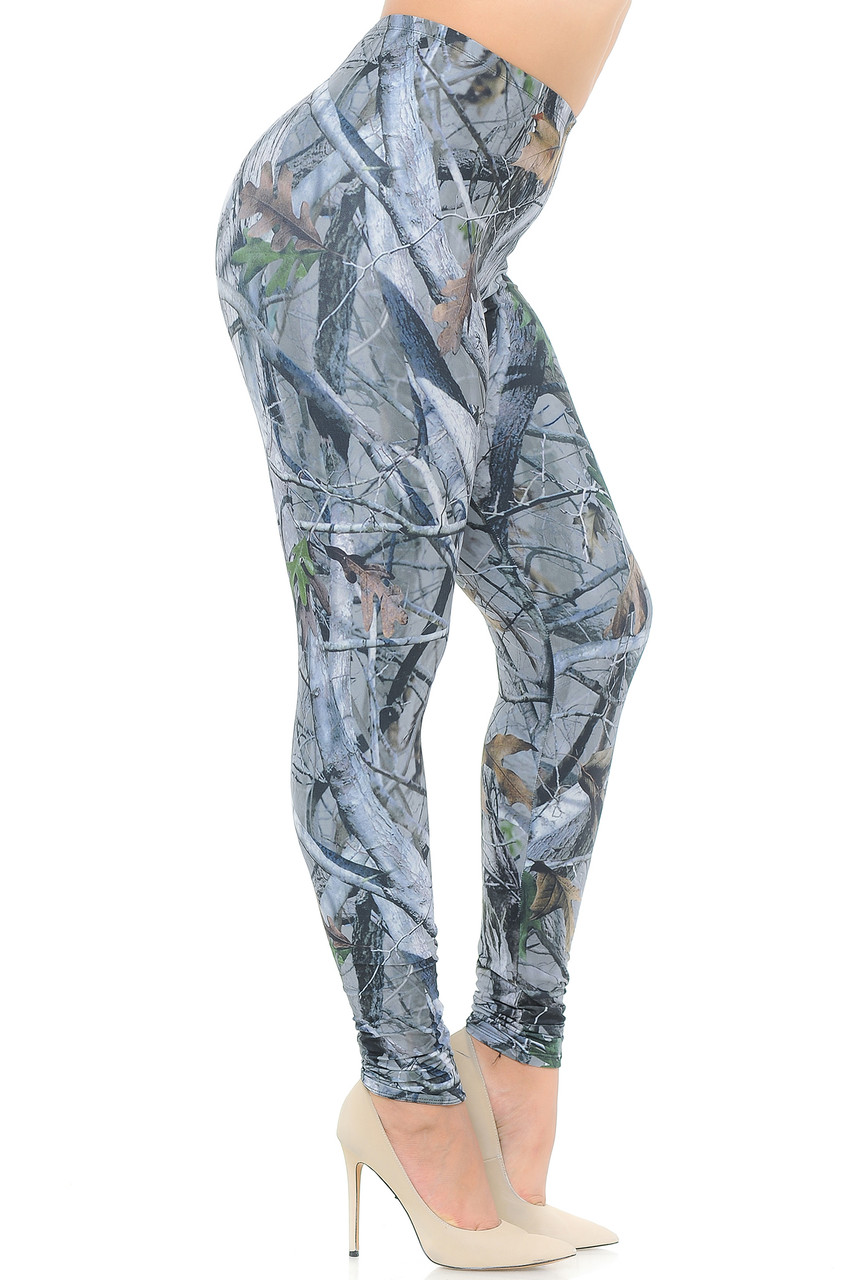 Right side view image of Creamy Soft Camouflage Trees Extra Plus Size Leggings - 3X-5X - USA Fashion™