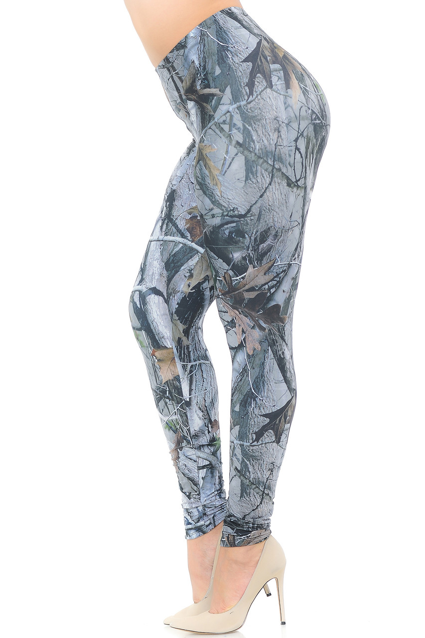 Left side view image of Creamy Soft Camouflage Trees Extra Plus Size Leggings - 3X-5X - USA Fashion™
