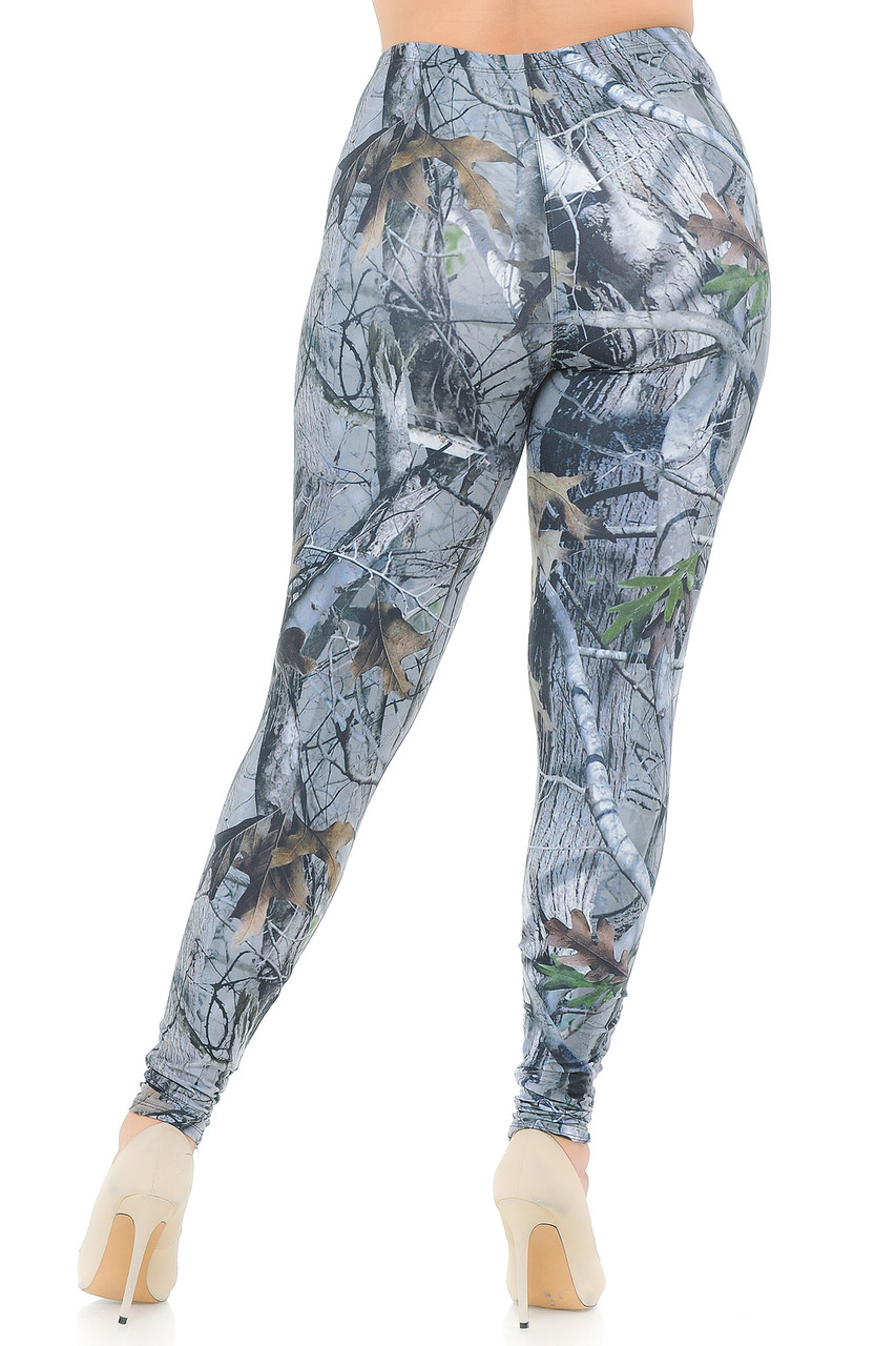 Rear view image of Creamy Soft Camouflage Trees Extra Plus Size Leggings - 3X-5X - USA Fashion™ showing a flattering body-hugging fit.