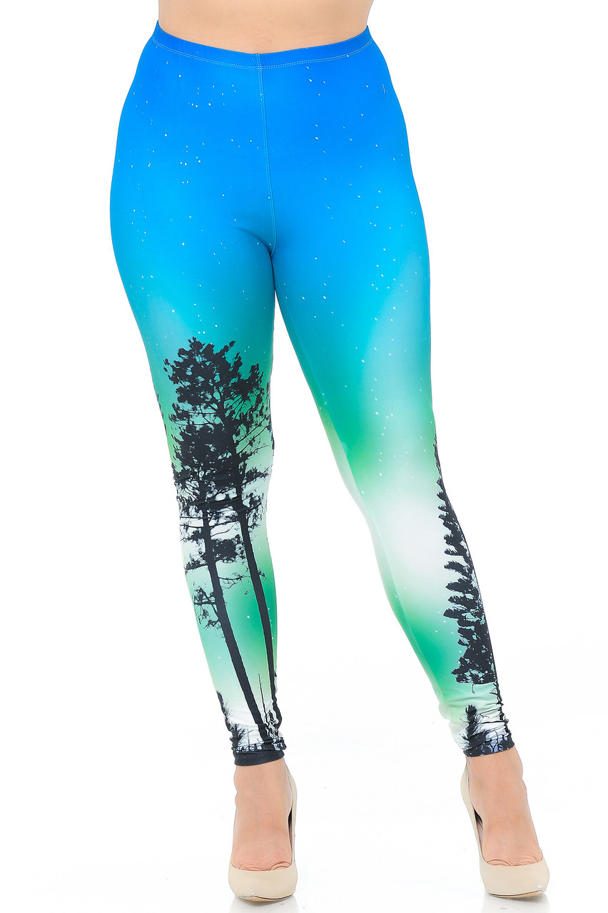 Front view image of our skinny leg Creamy Soft Blue Sunset Plus Size Leggings - USA Fashion™ with a fabulous nature inspired look.