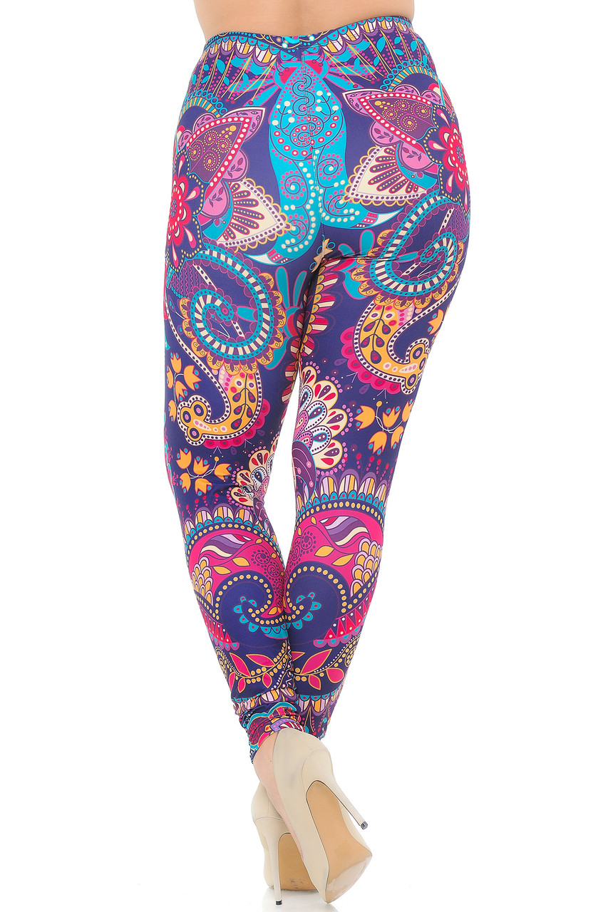 Rear view image of Creamy Soft Mandala Flowers Extra Plus Size Leggings - USA Fashion™ featuring a figure flattering body hugging fit and a fabulous stand out look.