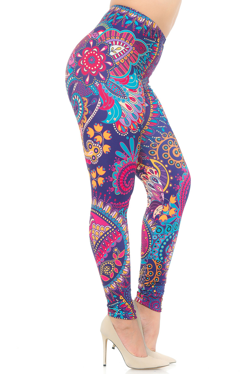 Right side view image of Creamy Soft Mandala Flowers Extra Plus Size Leggings - USA Fashion™
