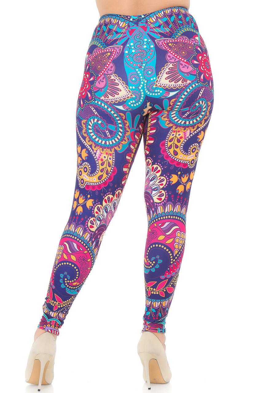 Back view image of Creamy Soft Mandala Flowers Extra Plus Size Leggings - USA Fashion™showing the continued all over design.