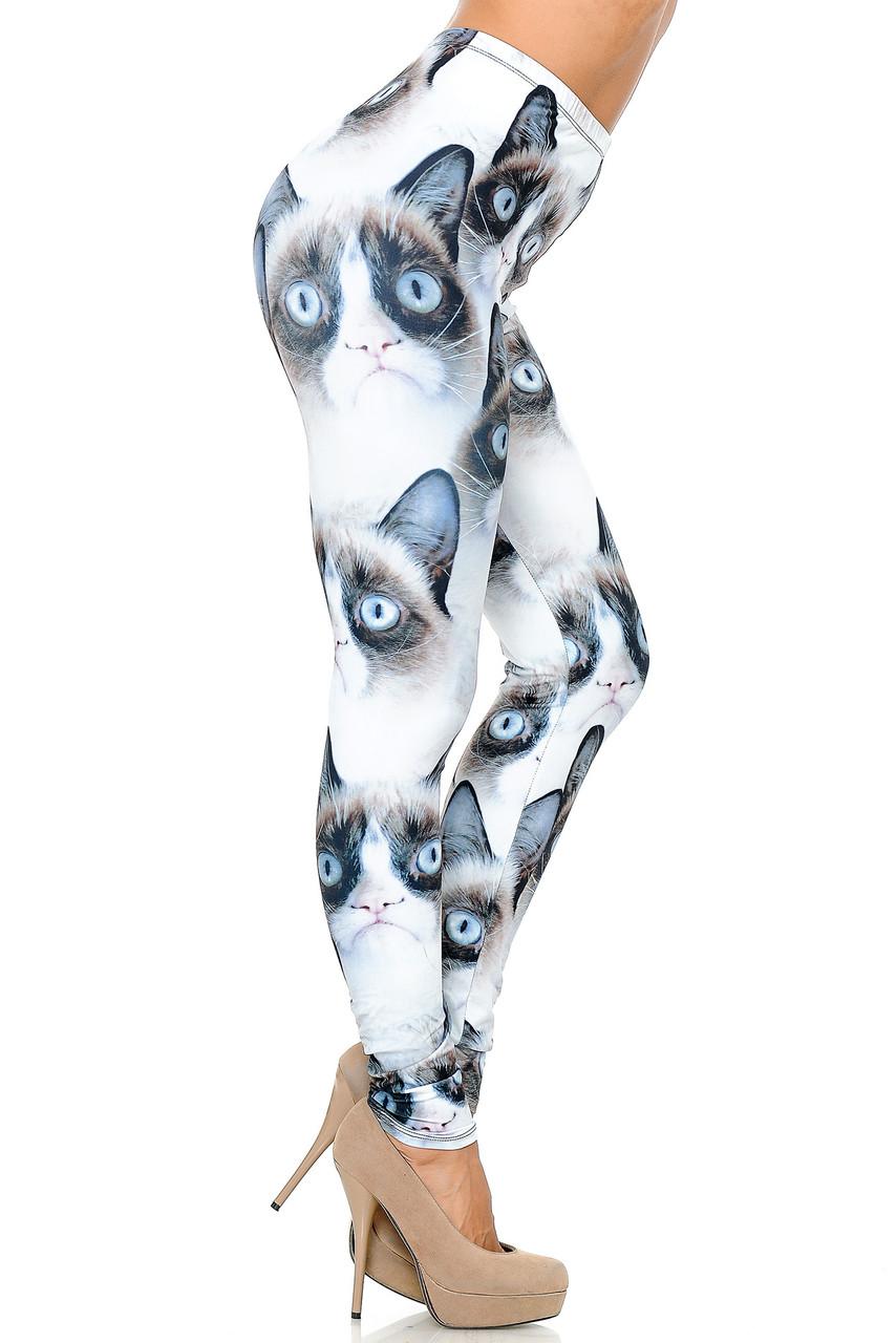 Right side view image of Creamy Soft Grumpy Cat Leggings  - USA Fashion™