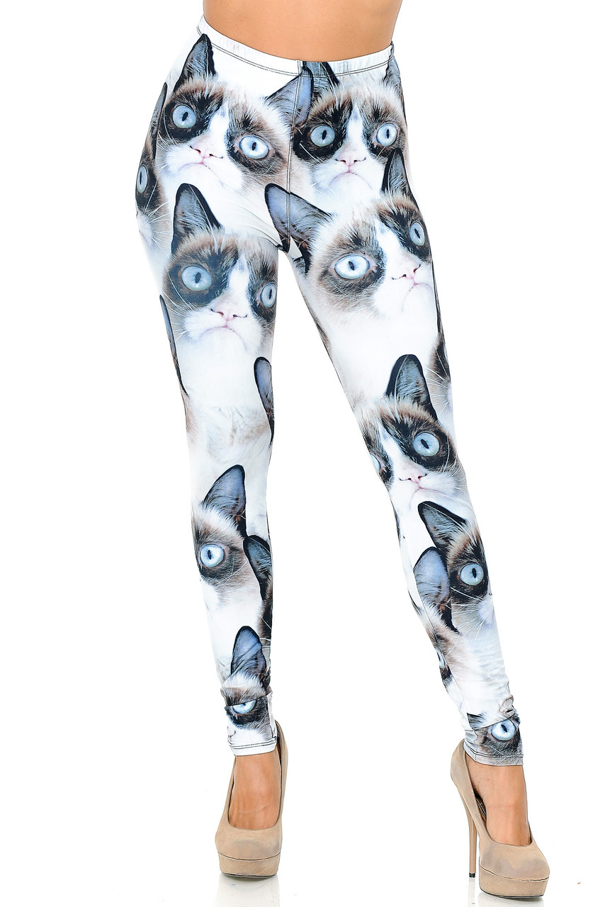 Front view image of our Creamy Soft Grumpy Cat Leggings -  USA Fashion™ with an elastic waistband that comes up to about mid rise.