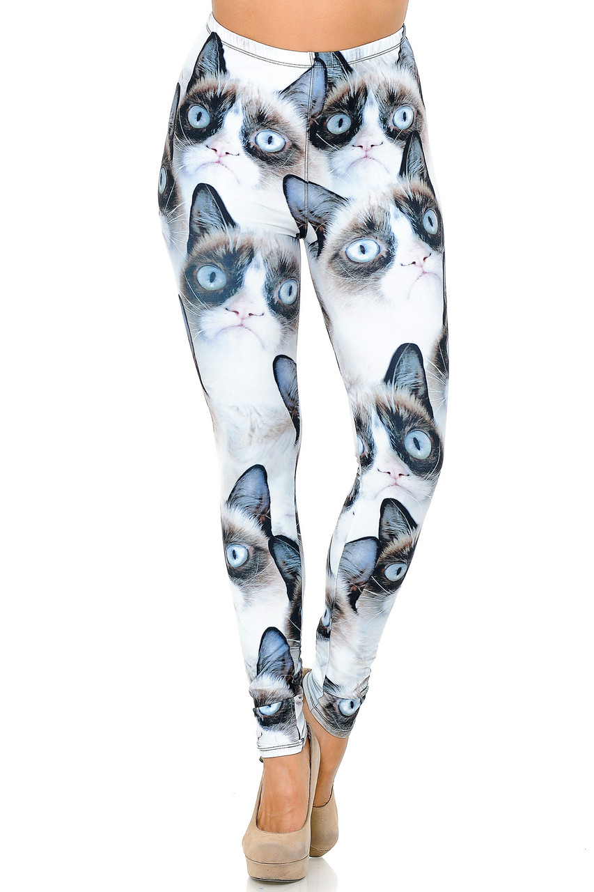 Front view image of our Creamy Soft Grumpy Cat Extra Plus Size Leggings - 3X-5X - USA Fashion™ with an elastic waistband that comes up to about mid rise.