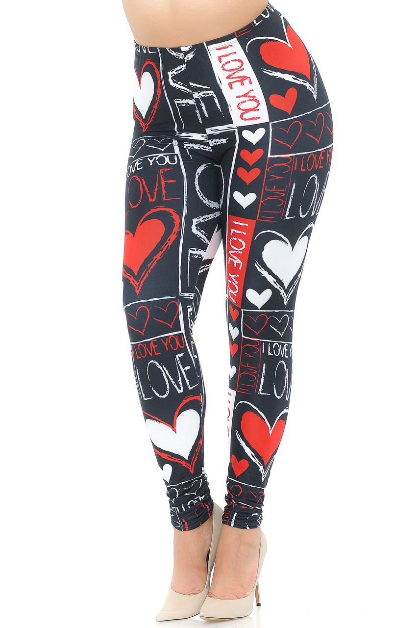 """With a sweet and stand out look this is a front view image of our Creamy Soft Heart and Love Plus Size Leggings - USA Fashion™ featuring a red and white on black print that includes hearts and the words """"I love you."""""""