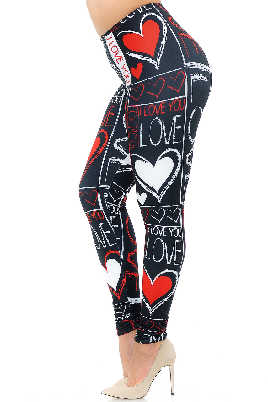 Left side view image of Creamy Soft Heart and Love Plus Size Leggings - USA Fashion™