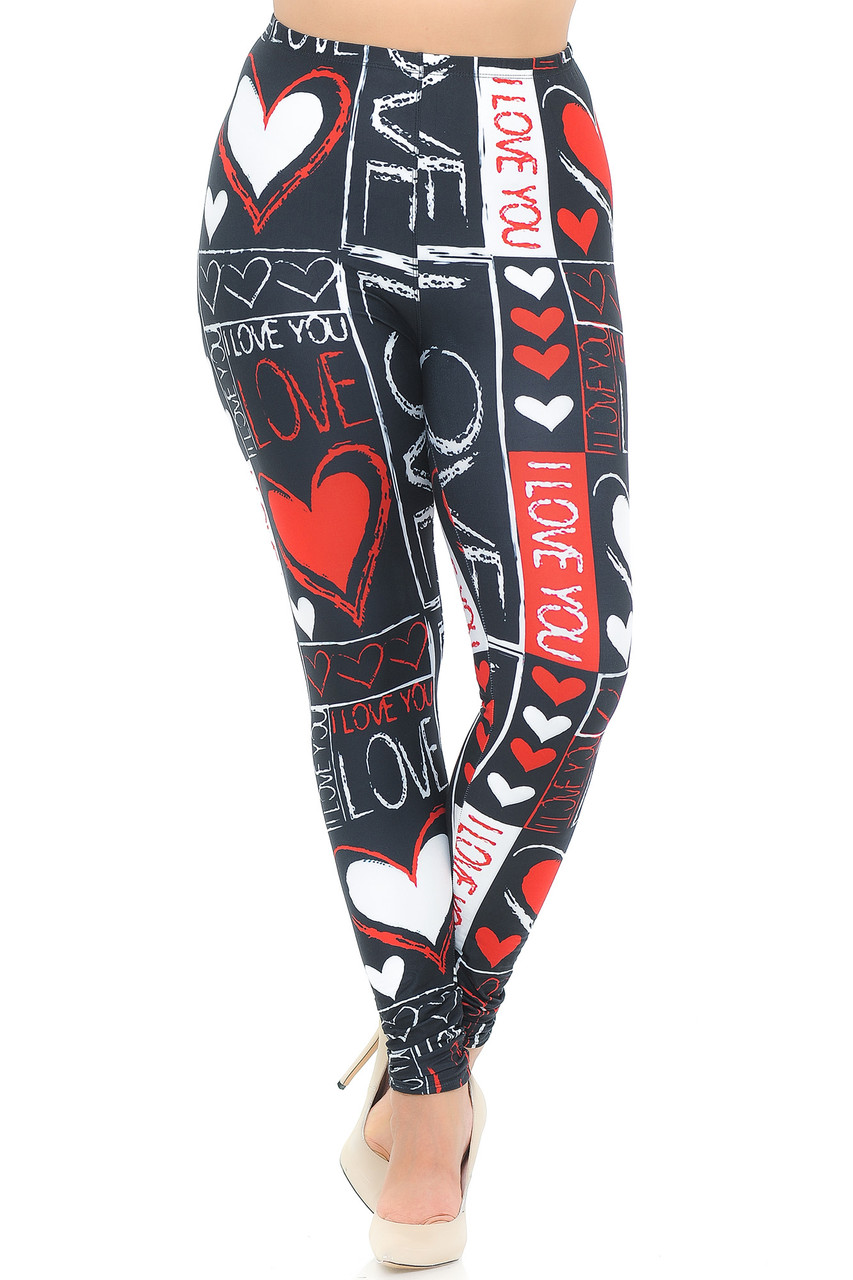 Front view image of Creamy Soft Heart and Love Plus Size Leggings - USA Fashion™
