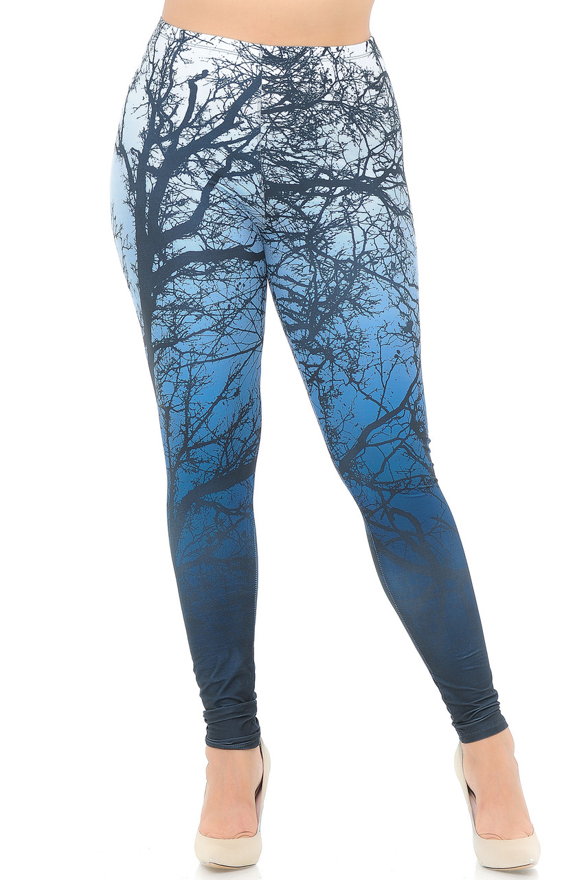 Front view image of our full length Creamy Soft Ombre Forest Plus Size Leggings - USA Fashion™ with a skinny leg cut.
