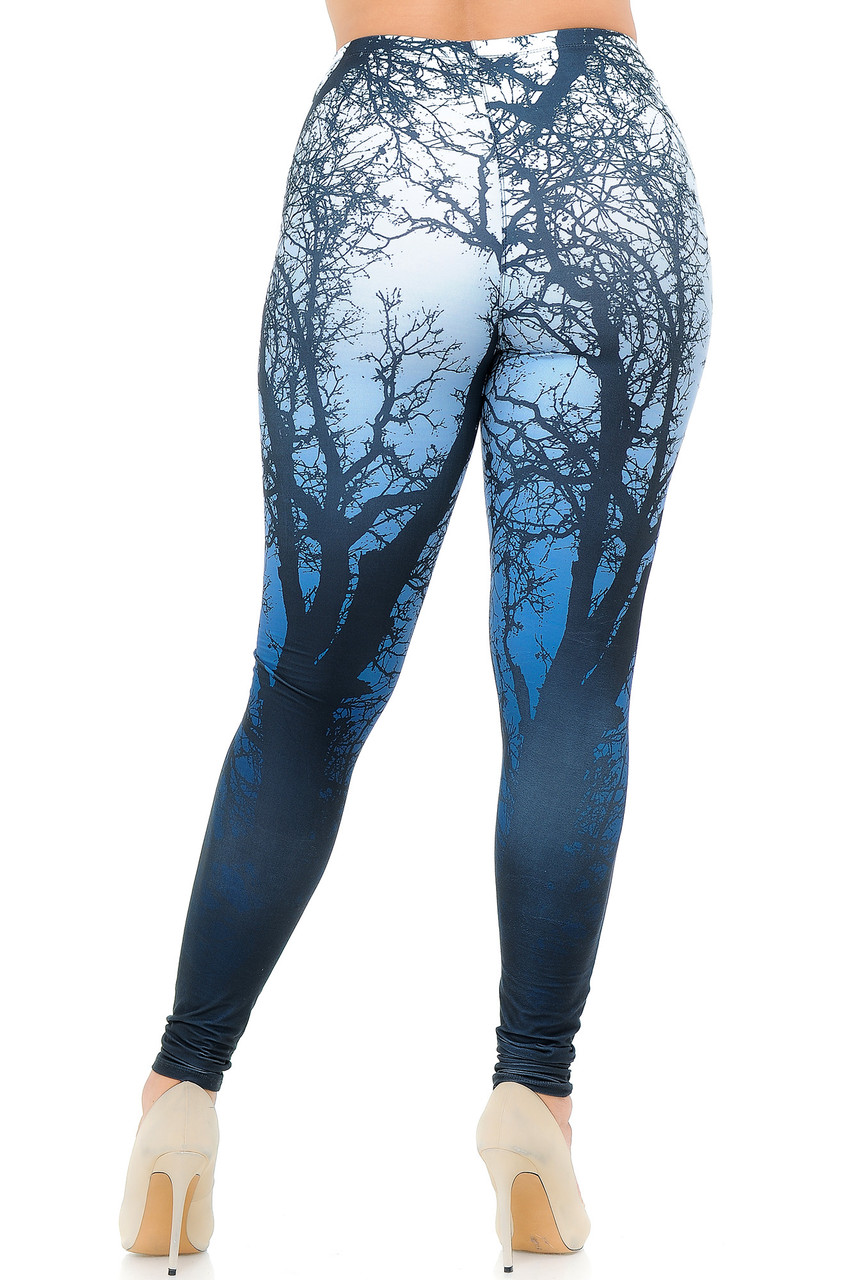 Back view image of Creamy Soft Ombre Forest Plus Size Leggings - USA Fashion™ showcasing the continued 360 degree design.