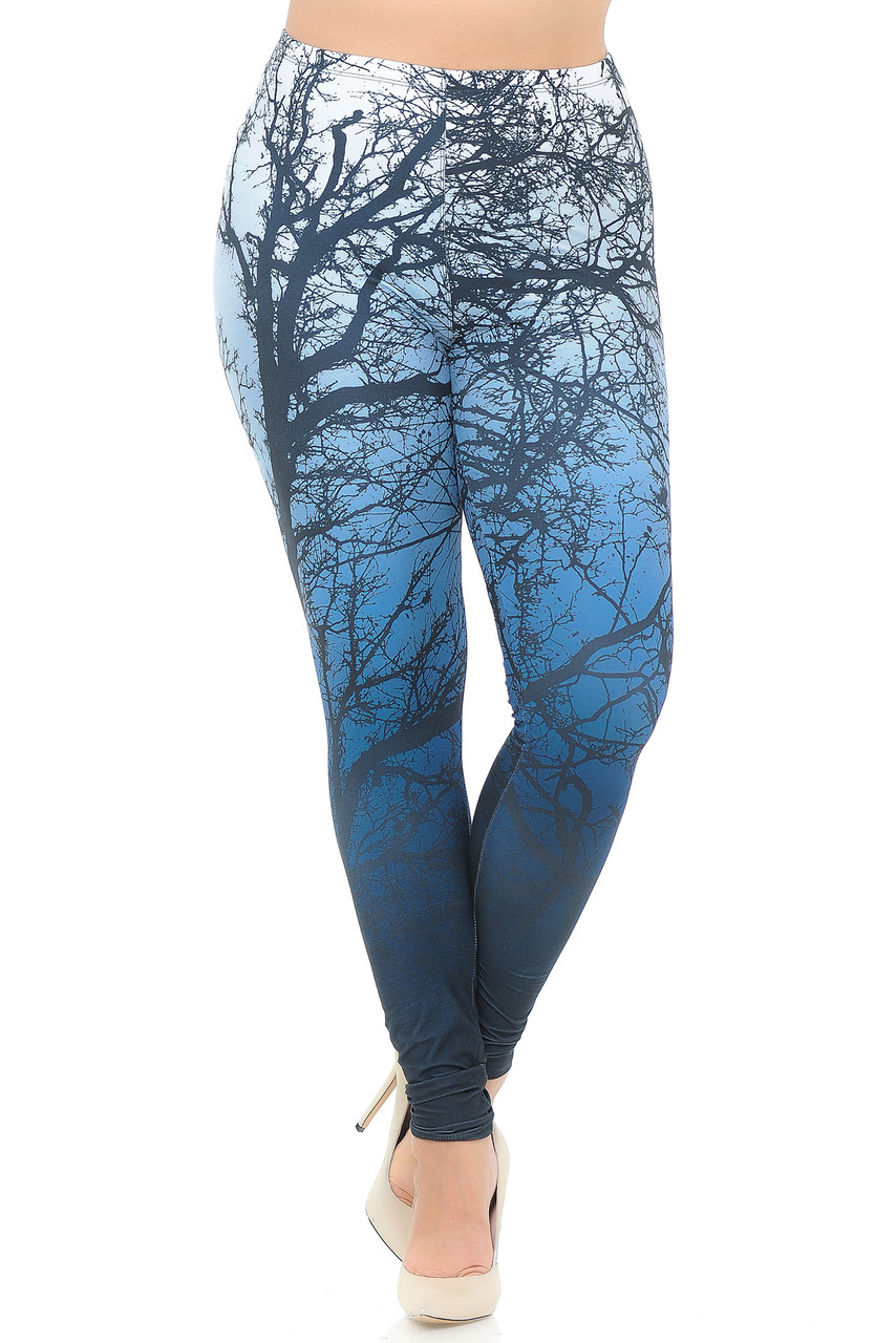Front view image of Creamy Soft Ombre Forest Plus Size Leggings - USA Fashion™  featuring an elastic waistband that comes up to about mid rise.