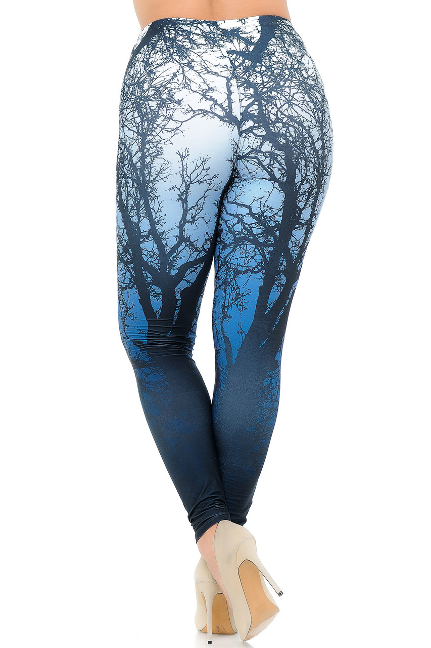 Rear view image of our eye-catching and body flattering Creamy Soft Ombre Forest Extra Plus Size Leggings - USA Fashion™ with a cool outdoorsy nature inspired design.