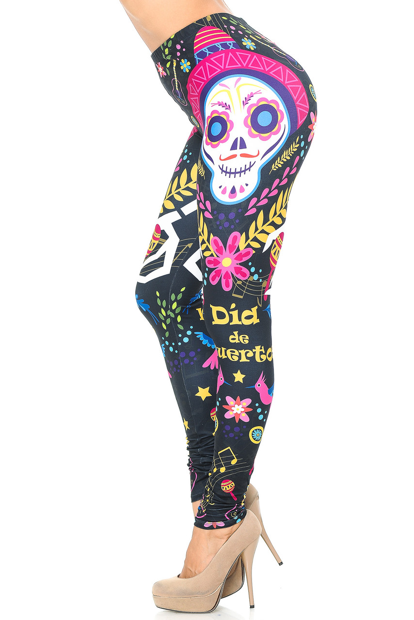 Left side view image of Creamy Soft Day of the Dead Leggings -  USA Fashion™ mirroring the right side leg print.