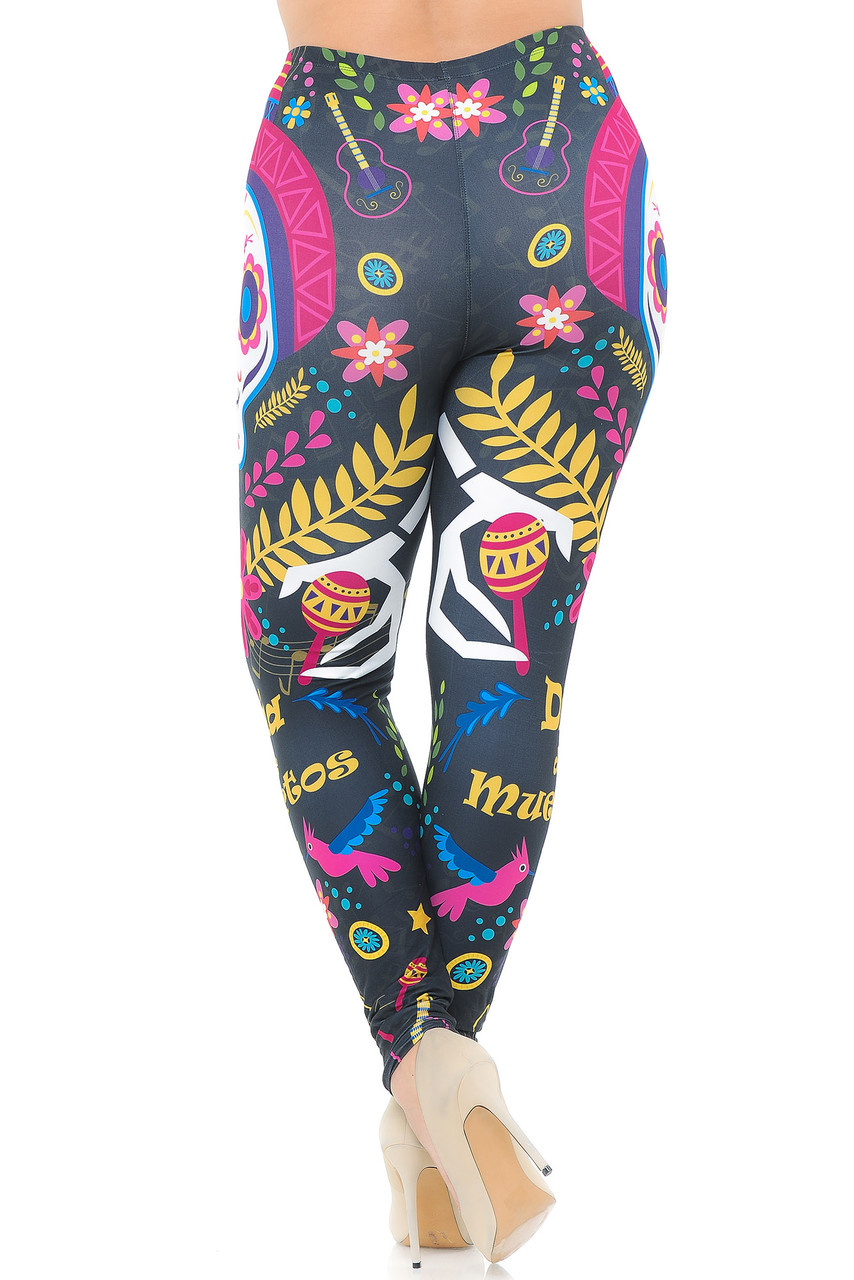 Rear view image of our fun and flattering body-hugging Creamy Soft Day of the Dead Plus Size Leggings - USA Fashion™