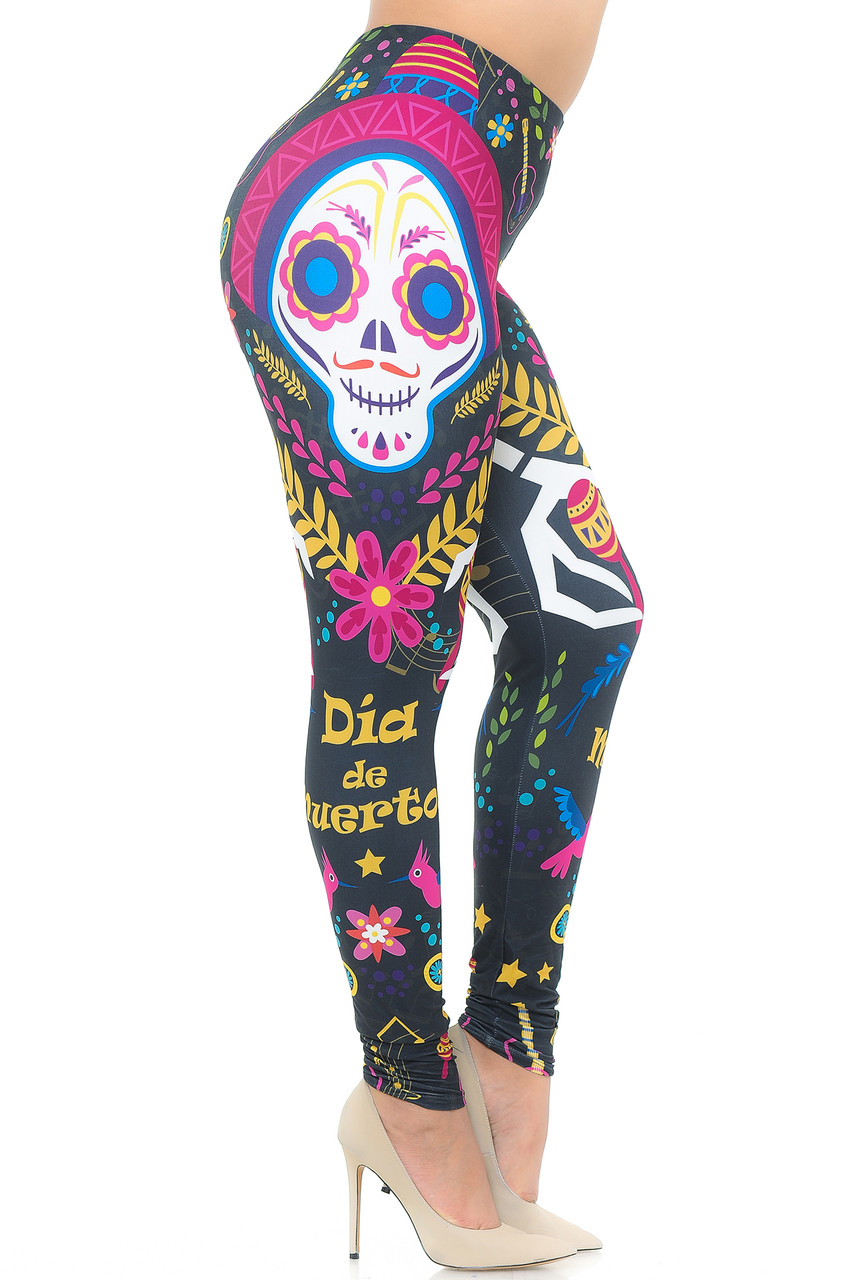"""Right side view image of our Creamy Soft Day of the Dead Plus Size Leggings  - USA Fashion™ showing a skull the words """"Dia de Muertos"""" and other decorative elements."""