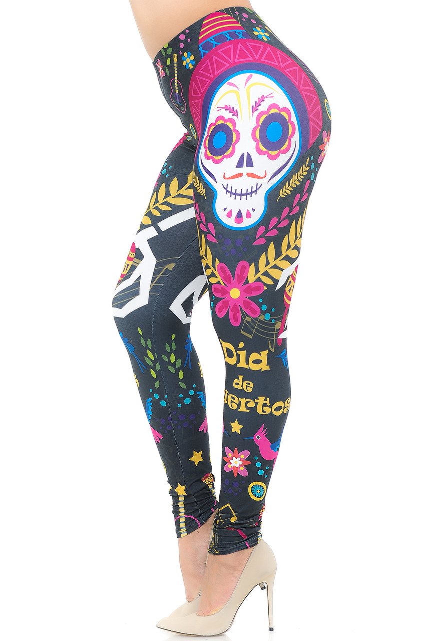 Left side view image of Creamy Soft Day of the Dead Plus Size Leggings -  USA Fashion™ mirroring the right side leg print.