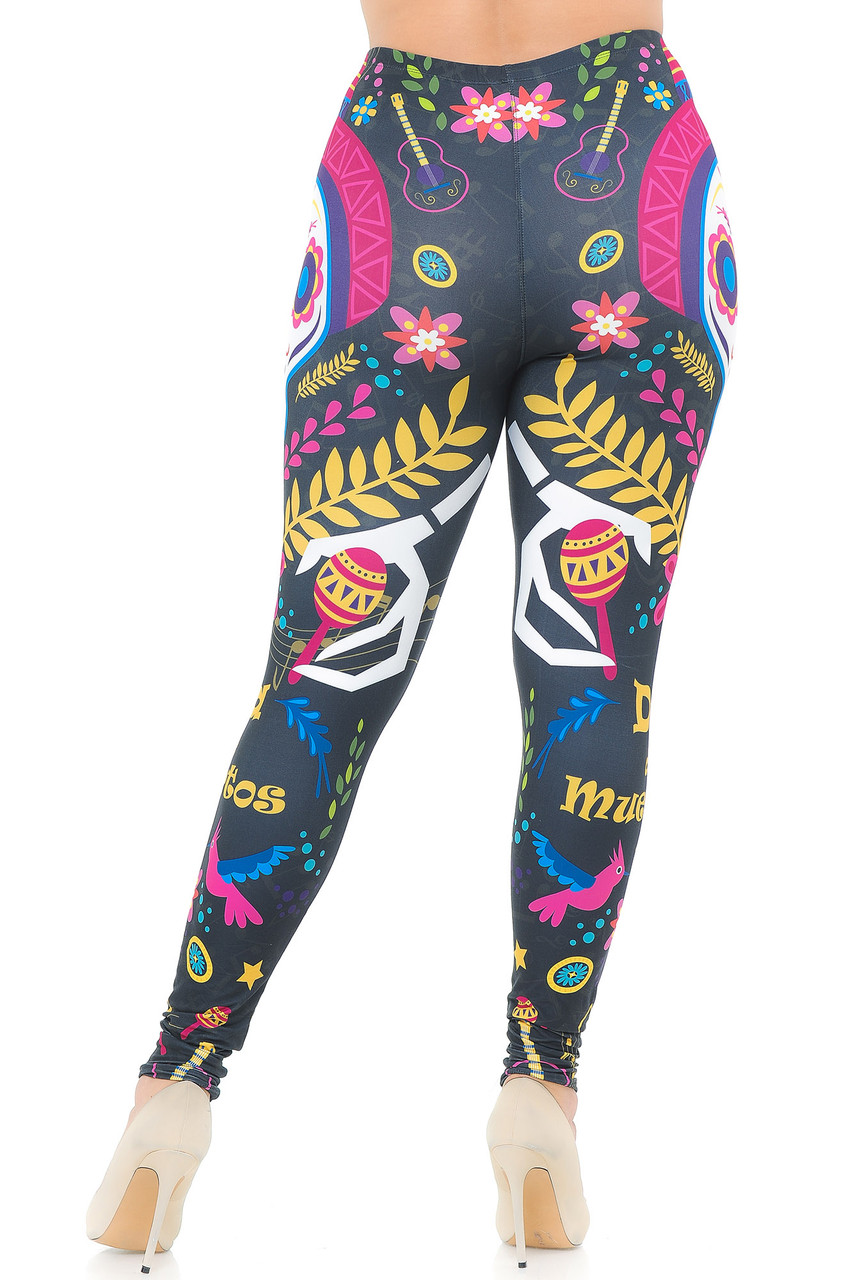 Rear view image of our festive Creamy Soft Day of the Dead Plus Size Leggings - USA Fashion™