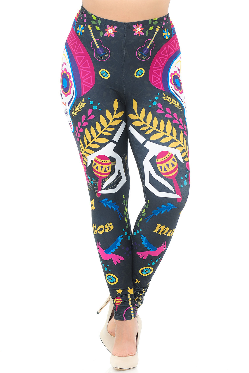 Front view of our mid rise Creamy Soft Day of the Dead Plus Size Leggings - USA Fashion™ with a mid rise elastic waistband.