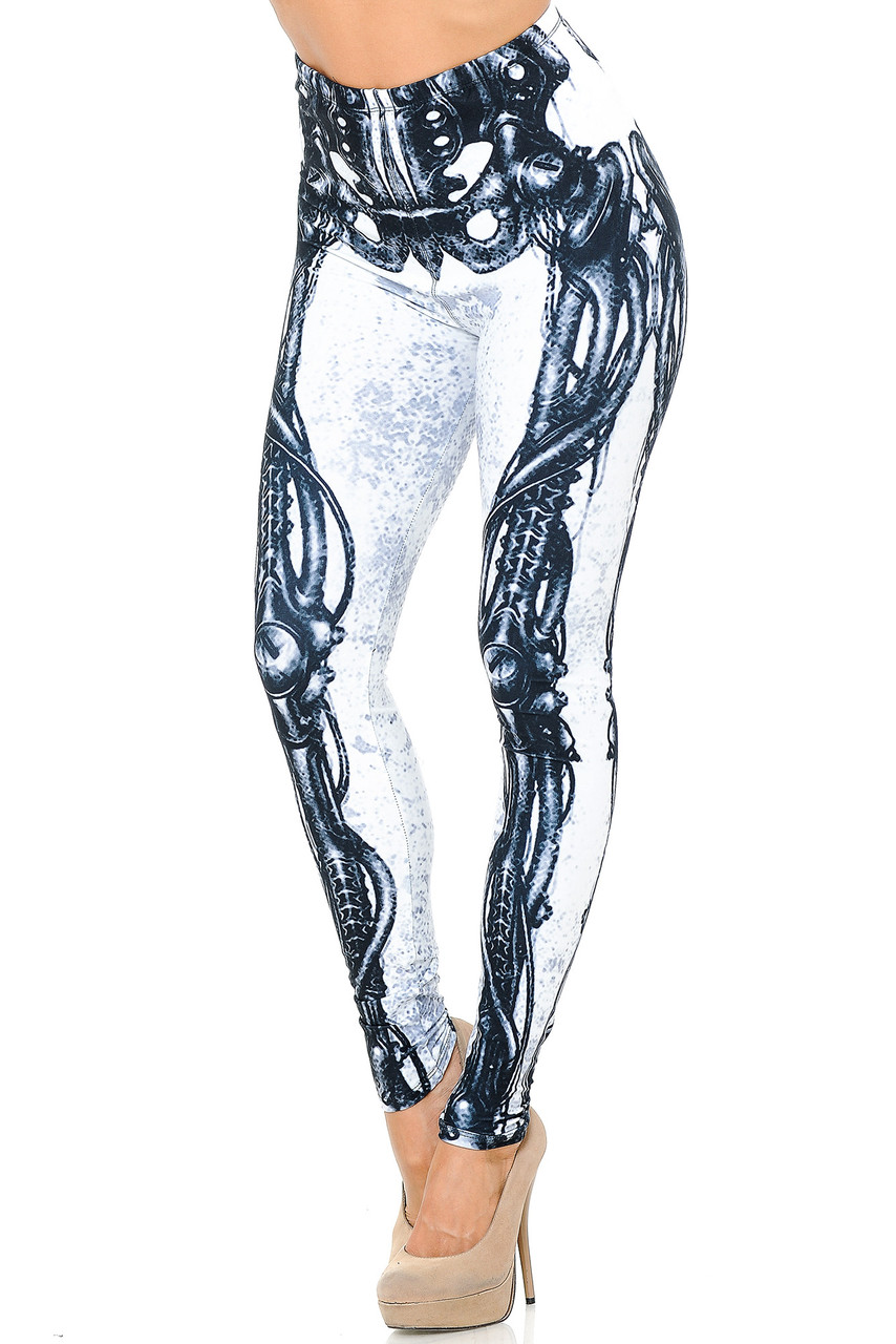 Angled front view image of our Creamy Soft White Bio Mechanical Skeleton Leggings (Steam Punk) - USA Fashion™ featuring a cool black on white steampunk style skeleton leg design, ideal for Halloween or edgy fashion any time of year.
