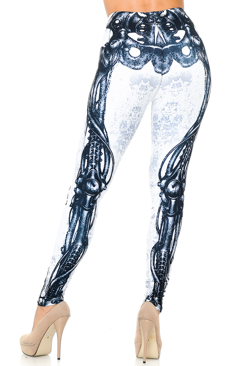 Rear view image showing the full length back skeletal print on our Creamy Soft White Bio Mechanical Skeleton Leggings (Steam Punk) - USA Fashion™