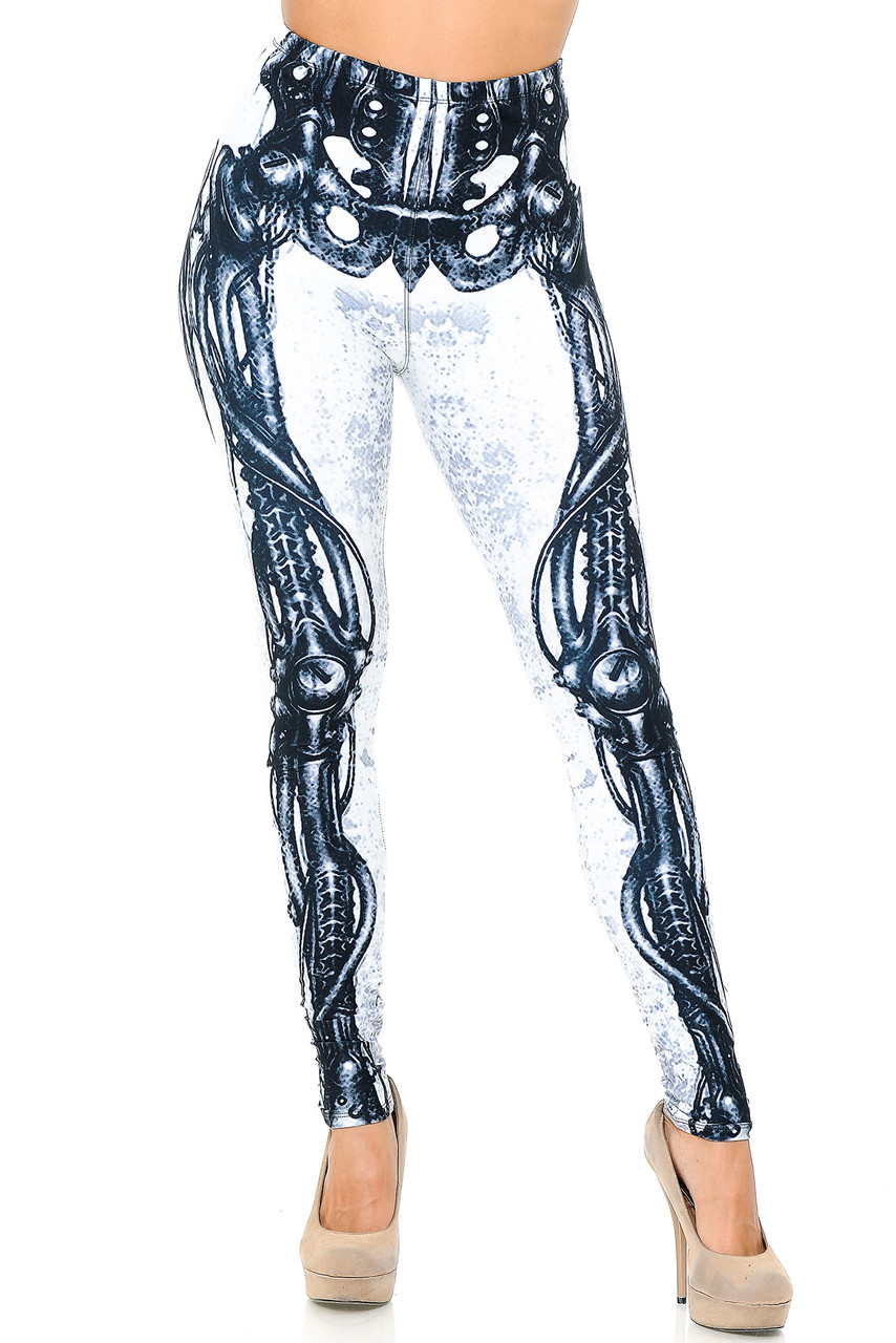 Front view image of our neutral colored Creamy Soft White Bio Mechanical Skeleton Leggings (Steam Punk) - USA Fashion™ that pair with a top of any color for any season.