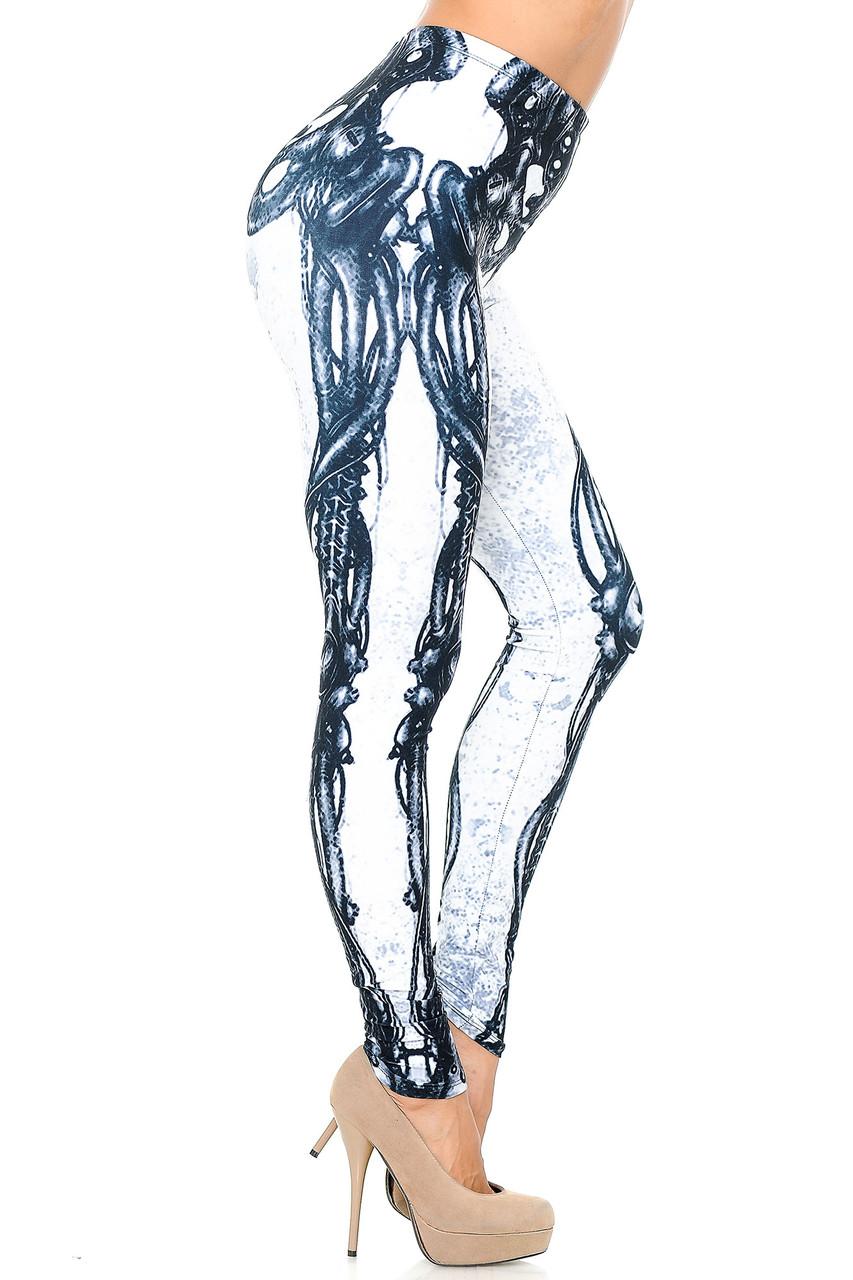 Right side view image of Creamy Soft White Bio Mechanical Skeleton Leggings (Steam Punk) - USA Fashion™