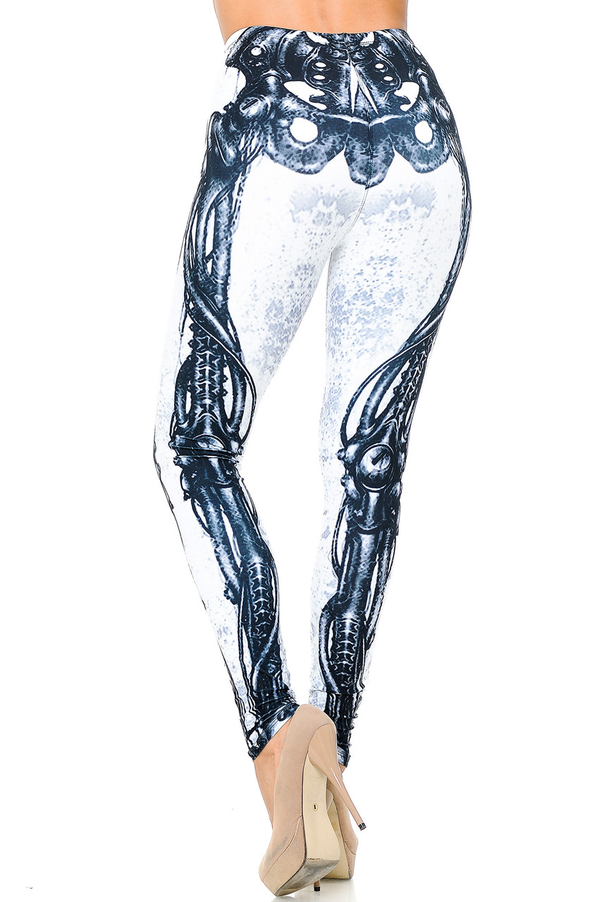 Back view image of our Creamy Soft White Bio Mechanical Skeleton Leggings (Steam Punk) - USA Fashion™ with a full length skinny leg cut.