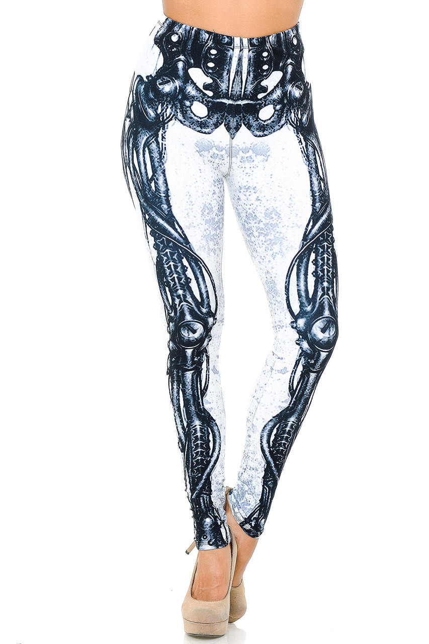 Front view image of our Creamy Soft White Bio Mechanical Skeleton Leggings (Steam Punk)  - USA Fashion™ with an elastic comfort stretch waistband that comes up to about mid rise.